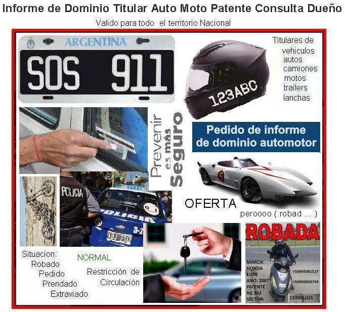 Informe de Dominio Patente Titular Auto Moto Vehiculo Agrario