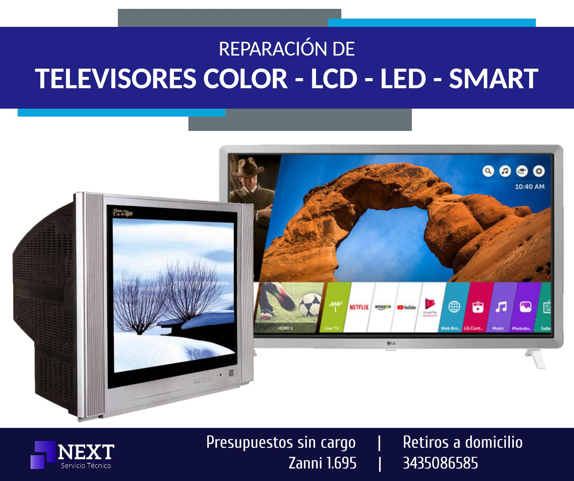 Reparación de TV COLOR, LCD, LED, SMART- Presupuestos sin cargo