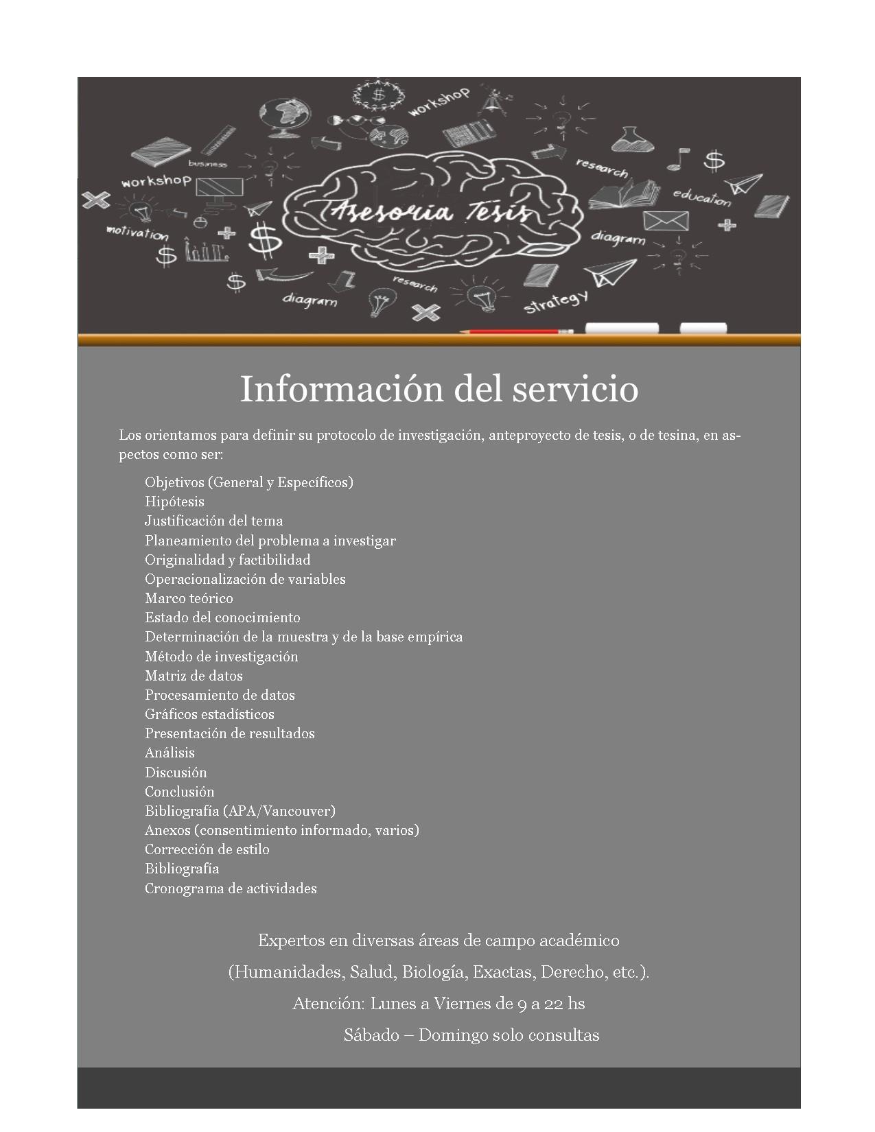 Asesoría de tesis, tesinas, tif, trabajos de grado, anteproyecto